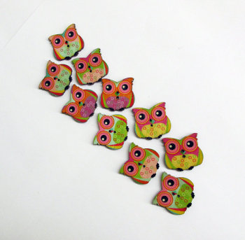 Wood buttons, owls, colorful mix., 10 pc. (F60001)