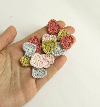Crocheted hearts 1/2 inch, pink and gray tiny appliques, set of 12 (A10031)