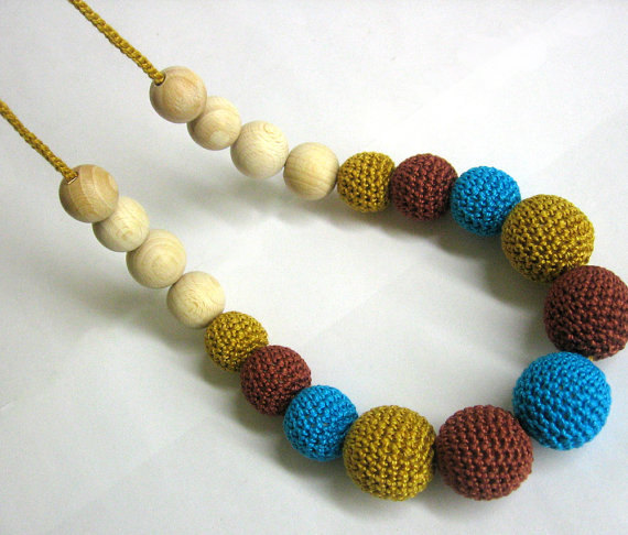Nursing necklace - turquoise blue and brown crochet beads and wood teething