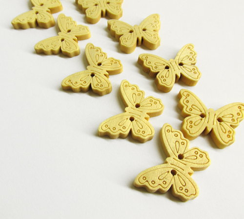 Wood buttons, butterfly, carved, natural wood, for scrapbooking, 10pc. (F60