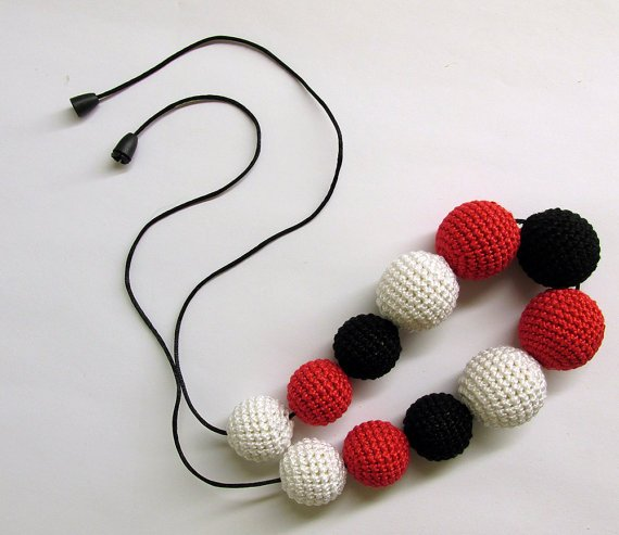 Teething necklace - red, black and white crocheted bead necklace