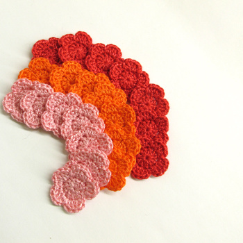 "1"" flower appliques, red, orange, pink mix, 21 pc. (A10062)"
