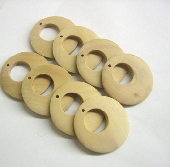 "Round wood pendant, unfinished, earring hoop, natural 40mm x 4mm (1 5/8""x1/8""), 4pc. (C30008)"