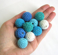 Crocheted beads 20 mm handmade round blue and white, 10pc. (B20044)