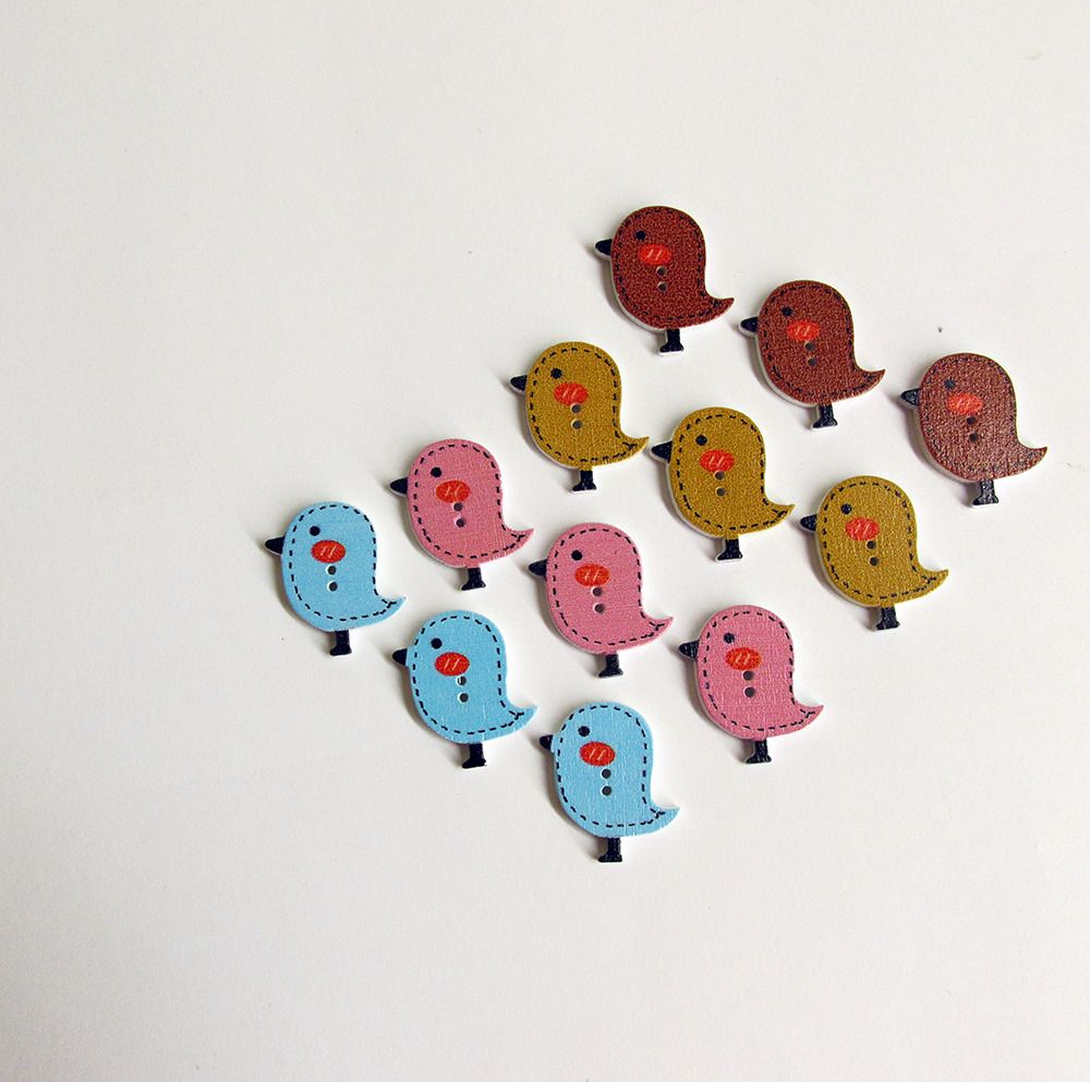 Wood buttons, birds, painted, colorful mix, for scrapbooking, 12pc. (F60002