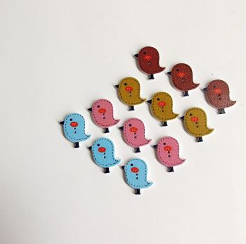 Wood buttons, birds, painted, colorful mix, for scrapbooking, 12pc. (F60003)
