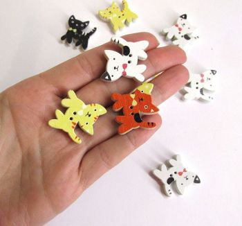 Wood buttons, cats, painted, colorful mix, for scrapbooking, 12pc. (F60004)