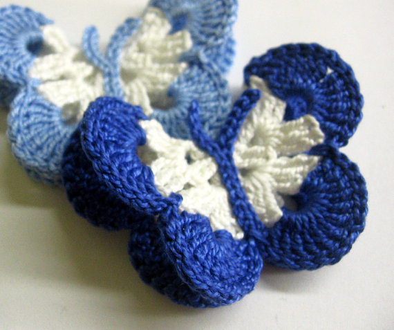 Crocheted Butterfly Appliques 2pc in white and blue, 3 inches (A10035)