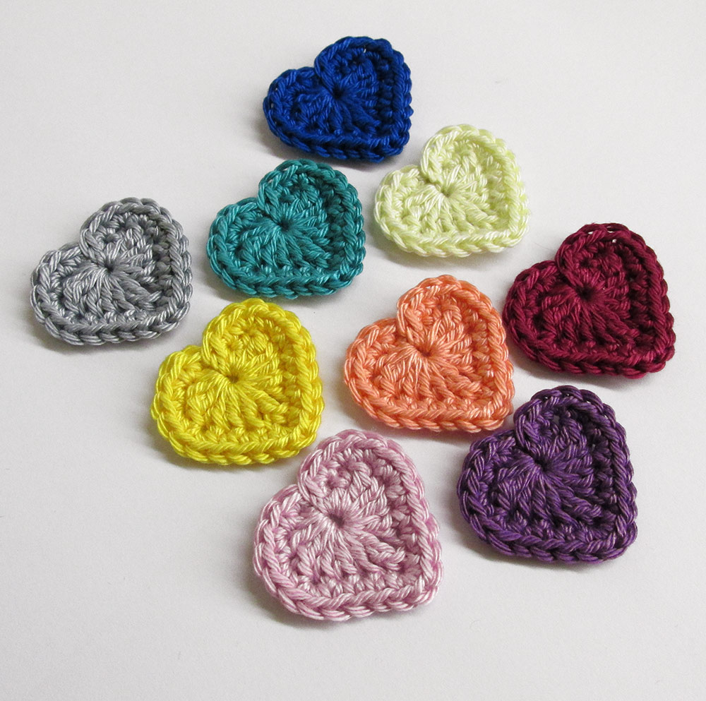 heart appliques colorful set, 1,3 inches, 9pc. (A10038)