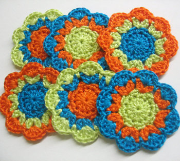 Handmade cotton flower motifs appliques in orange green and blue, 6pc.