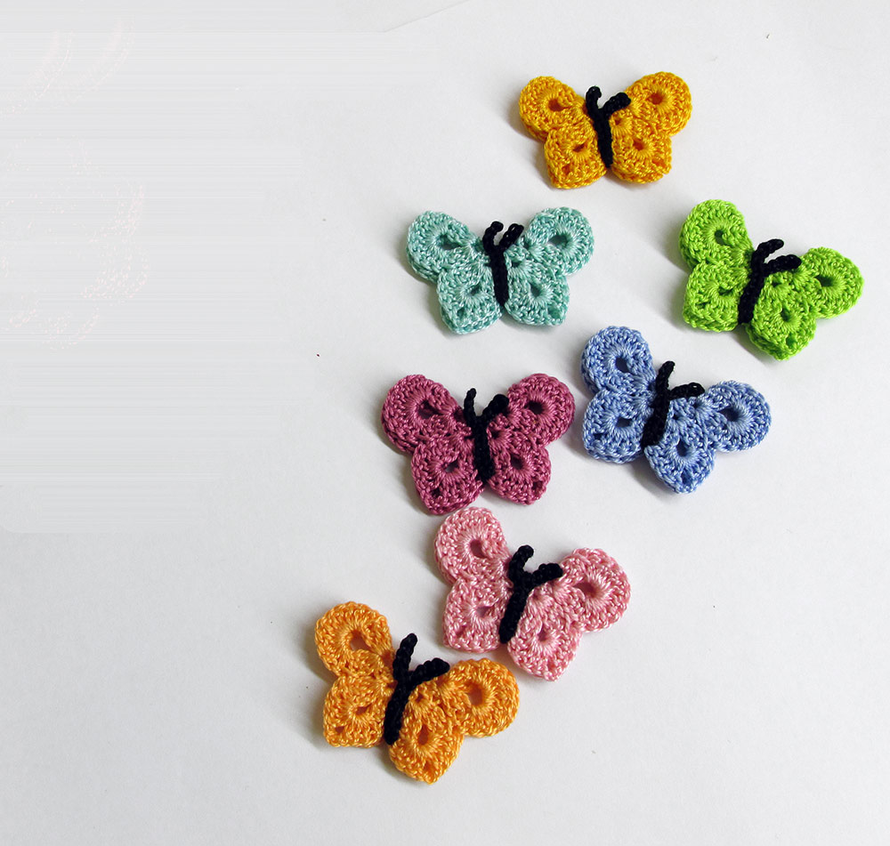 Crocheted Butterfly Appliques Handmade 7 pieces rainbow mix  (A10009)