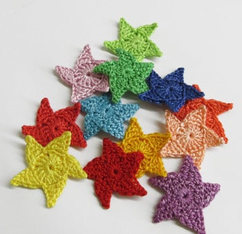 Star appliques, crocheted, handmade, 1,3 inches, colorful mix, 12 pc. (A10044)