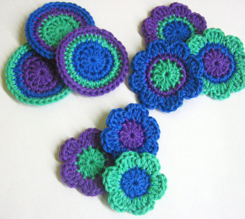 Crocheted flowers and circles in purple, blue and green, 9pc. (A10045)