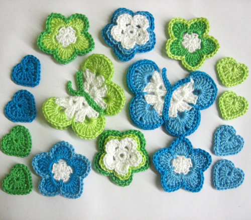 Butterfleis, hearts, flowers, mixed lot, blue and green, 16pc. (A10046)