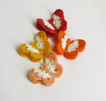 "Butterfly Appliques, 2"" wide, colorful mix - red, orange, yellow, peach, 4pc. (A10050))"