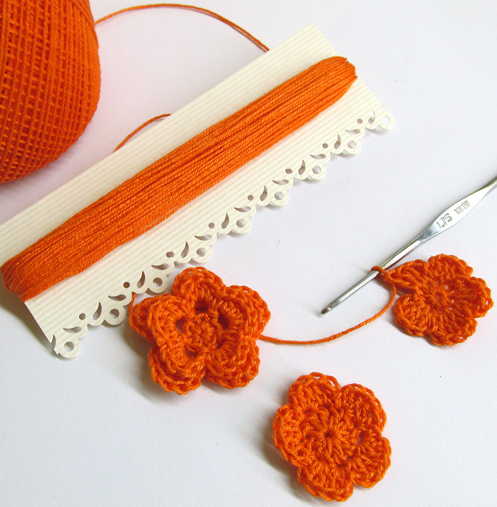 Crochet thread, mercerized cotton, small lot, 15 yards, orange (E50006)