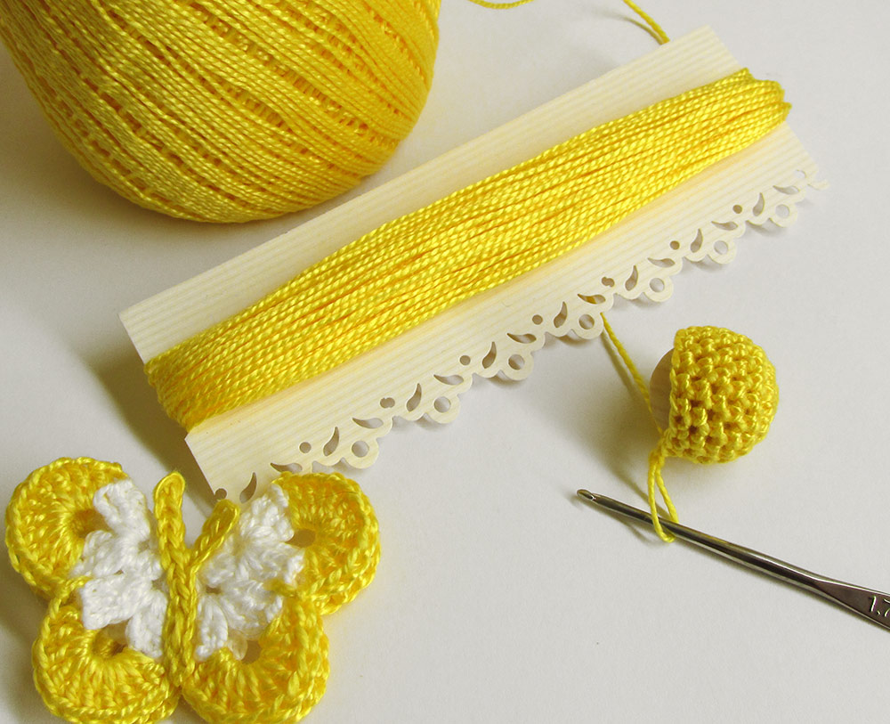 Crochet thread, mercerized cotton, small lot, 15 yards, yellow (E50007)
