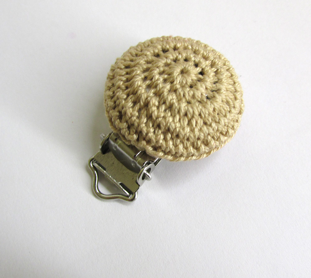 Wood pacifier clip, beige, crocheted, for dummy holders, pacifier holders,