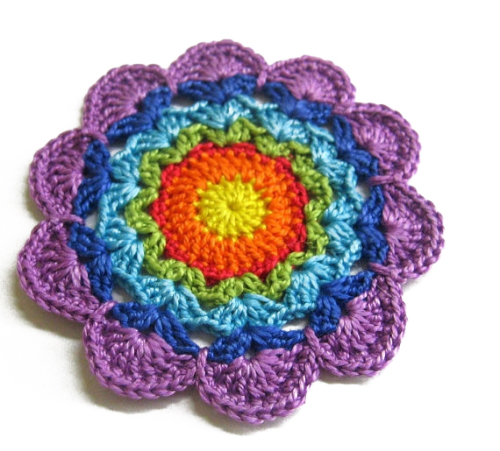Crocheted flower motif, applique, rainbow, 3 inches, 1pc. (A10068)