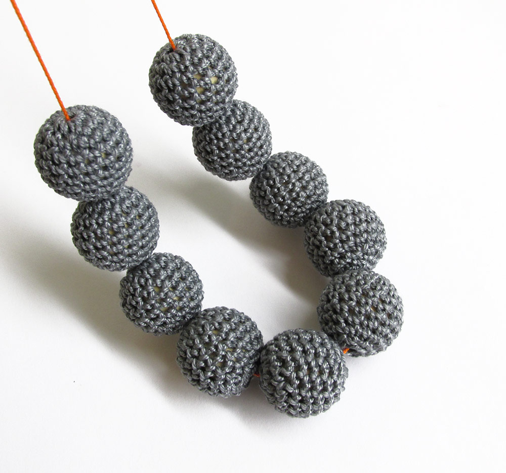 Crocheted beads 20 mm handmade charcoal gray, cotton on wood, 10pc. (B20052