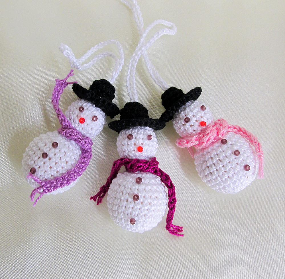 Crochet snowman, Christmas ornaments, 3pc. (J90001)