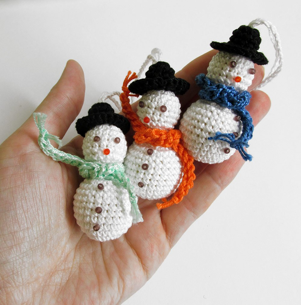 Crochet snowman with hat, Christmas ornaments, 3pc. (J90002)