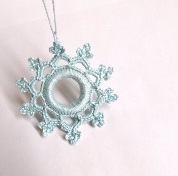 Crocheted snowflake, Christmas ornament, sea blue, 1 pc. (J90004)