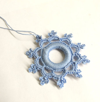 Crocheted snowflake, Christmas ornament, light ice blue, 1 pc. (J90005)