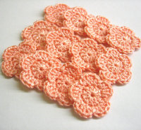 Crocheted flower appliques, purple, , 1 inch (2,5cm), 12 pc. (A10070)