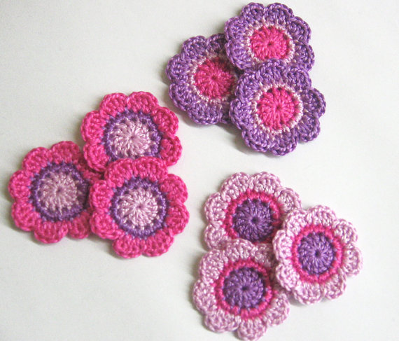 Handmade flower appliques inpink purple 1,4 inches, 9pc. (A10075)