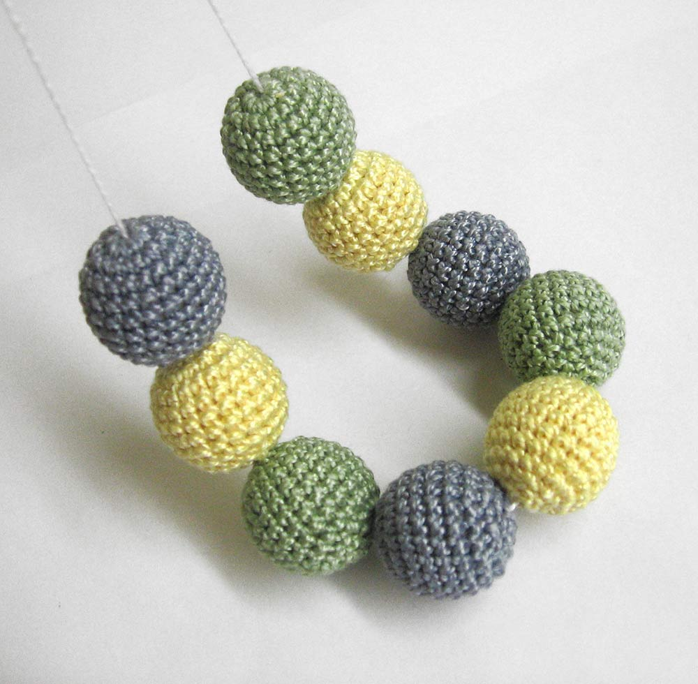Crocheted beads 22mm, handmade round in yellow, jade, gray,  9pc  (B20058)