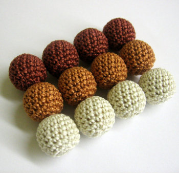 Crocheted beads brown ecru 20 mm handmade round cotton on wood, 12pc. (B20060)