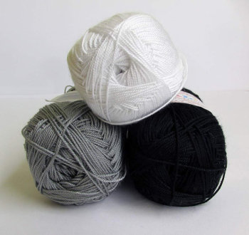 Acrylic yarn, neutral mix, lace weight, microfibra, 3 skeins (E50010)