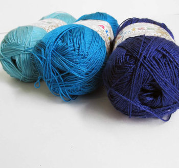 Acrylic yarn, blue mix, lace weight, microfibra, 3 skeins (E50011)
