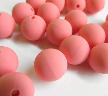 Silicone teething beads, 14mm, soft pink, set of 5 (D40004)