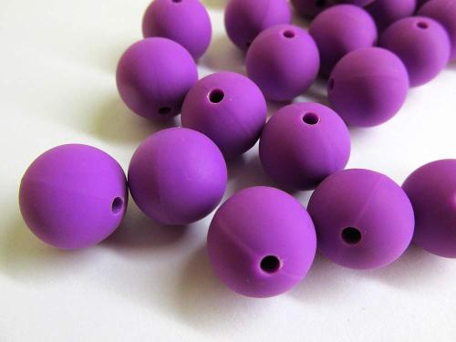 Silicone teething beads, 14mm, vibrant purple, set of 5 (D40005)