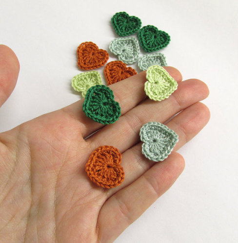 Crocheted hearts 1/2 inch, green and rust mix, 12 pc. (A10083)