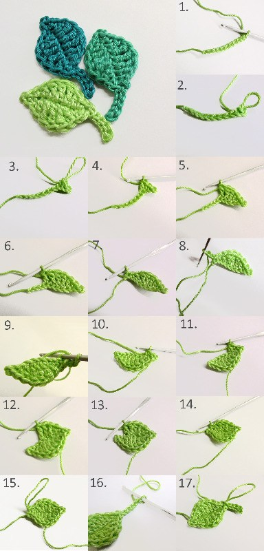Chrochet leaves - tutorial