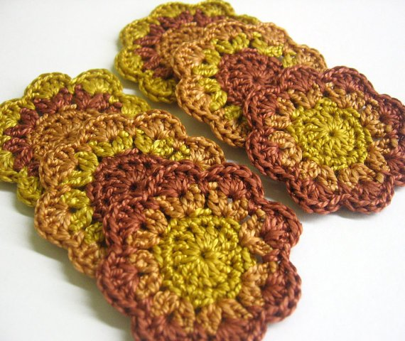 Cotton flower motifs appliques, brown mix, 6 pc. (A10088)