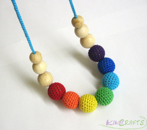 Nursing necklace, rainbow mix. - crochet wood beads, teething necklace (H80