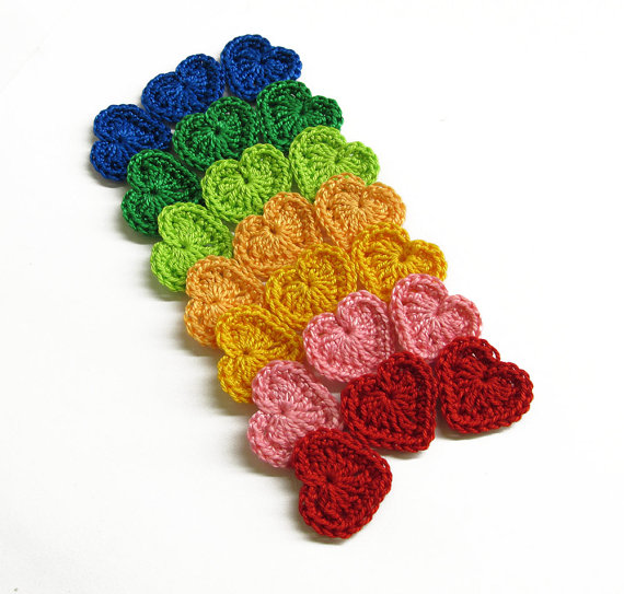 Crocheted tiny hearts 0.8 inches colorful appliques, dark rainbow, 21pc. (A