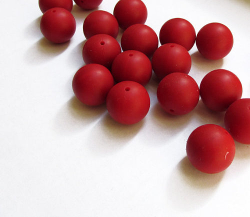 Silicone teething beads, 18mm, red, set of 5 (D40006)