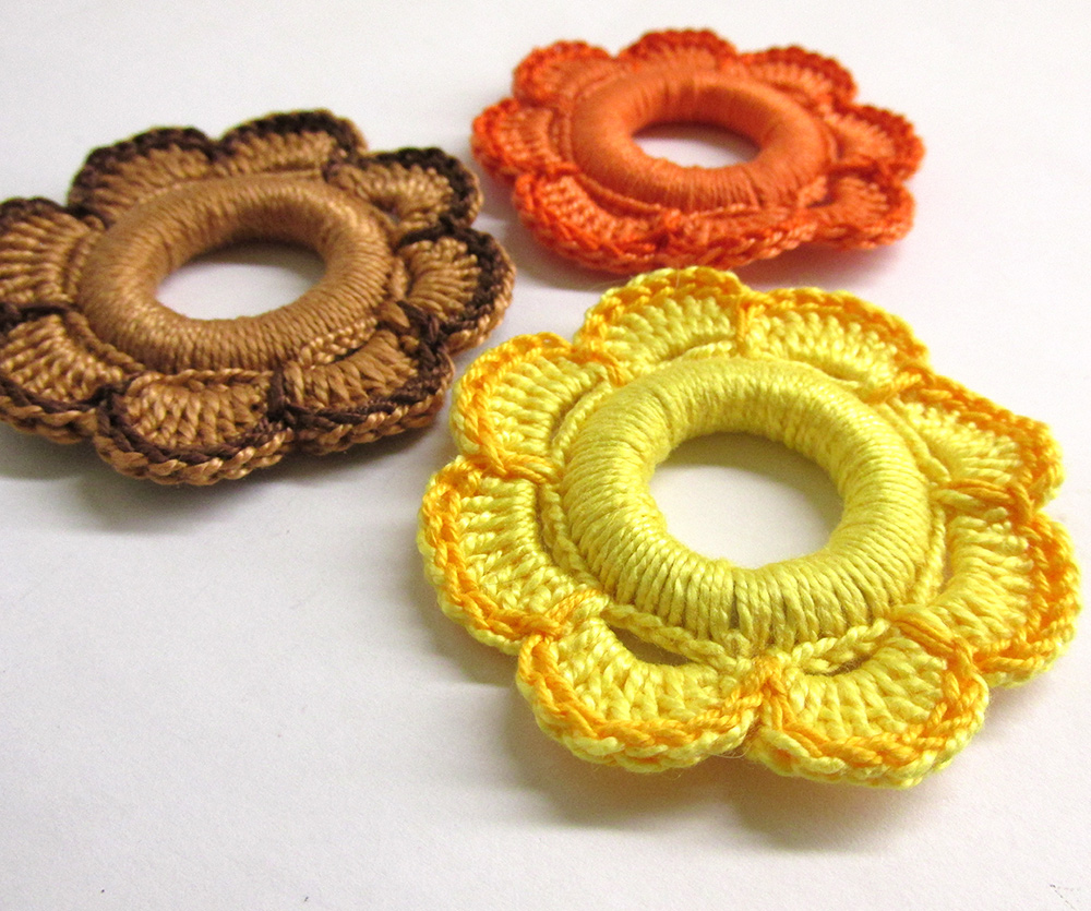 Flower hoops handmade wood pendants, ornaments yellow, brown, orange, 5.5 c