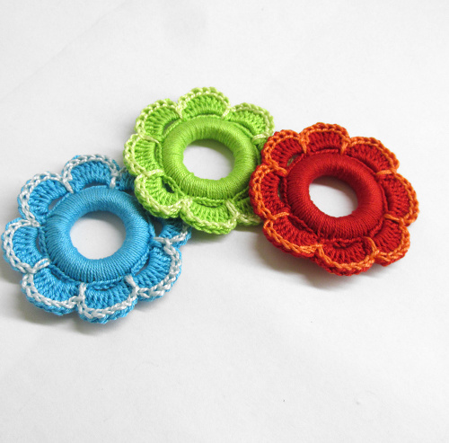 Flower hoops handmade wood pendants, ornaments red, green, blue, 2 1/4 inch