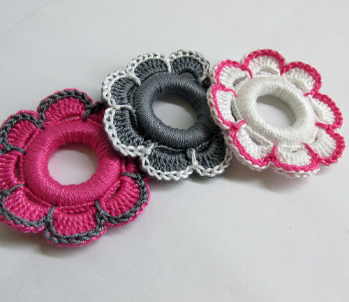 Flower hoops handmade wood pendants, ornaments pink, gray, white, 2 1/4 inc