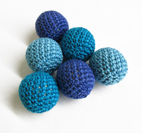 Crocheted beads 27 mm handmade round blue mix, 6pc. (B20031)
