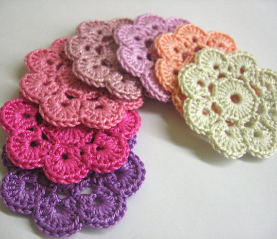 Handmade Crocheted Flower Appliques Motifs in pink and purple, 2 inches, 7