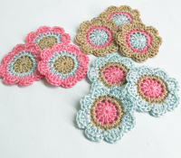 Handmade flower appliques in pastels, 1,4 inches, 9pc. (A10092)