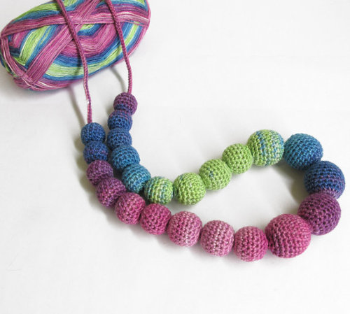 Colorful, long necklace - chunky blue, green, pink crochet beads teething n