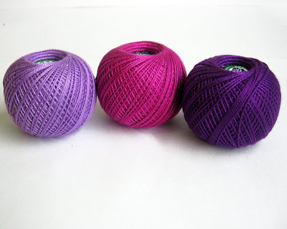 Cotton crochet thread, purple and pink mix, 25 g per ball, 3 pc. (E50013)